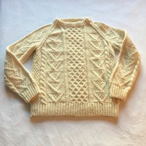 Handknit Made in Ireland Wool Fisherman's Sweater